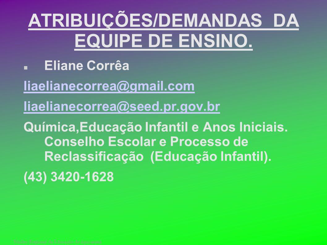 Núcleo Regional da Educação de Apucarana ATRIBUIÇÕES/DEMANDAS DA EQUIPE DE ENSINO. Eliane Corrêa liaelianecorrea@gmail.com liaelianecorrea@seed.pr.gov