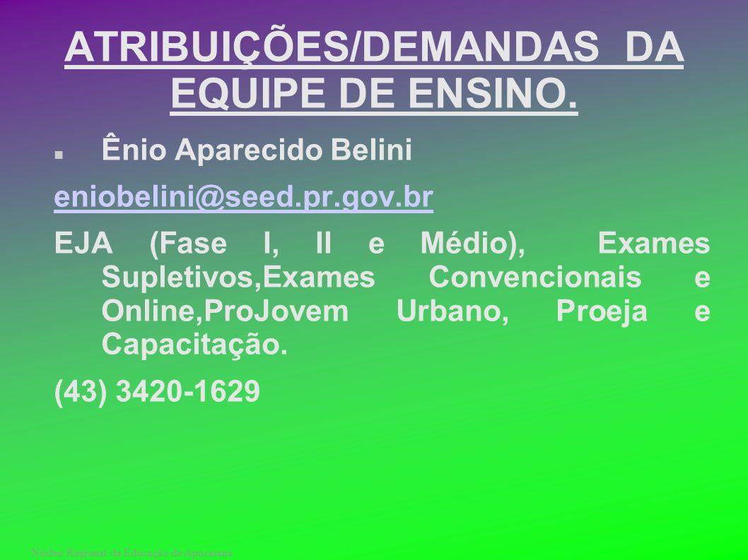 Núcleo Regional da Educação de Apucarana ATRIBUIÇÕES/DEMANDAS DA EQUIPE DE ENSINO. Ênio Aparecido Belini eniobelini@seed.pr.gov.br EJA (Fase I, II e M