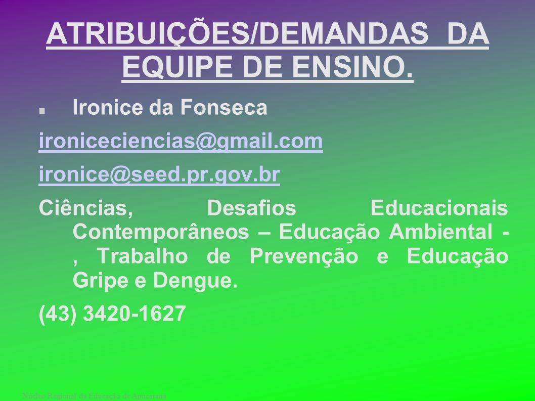 Núcleo Regional da Educação de Apucarana ATRIBUIÇÕES/DEMANDAS DA EQUIPE DE ENSINO. Ironice da Fonseca ironiceciencias@gmail.com ironice@seed.pr.gov.br
