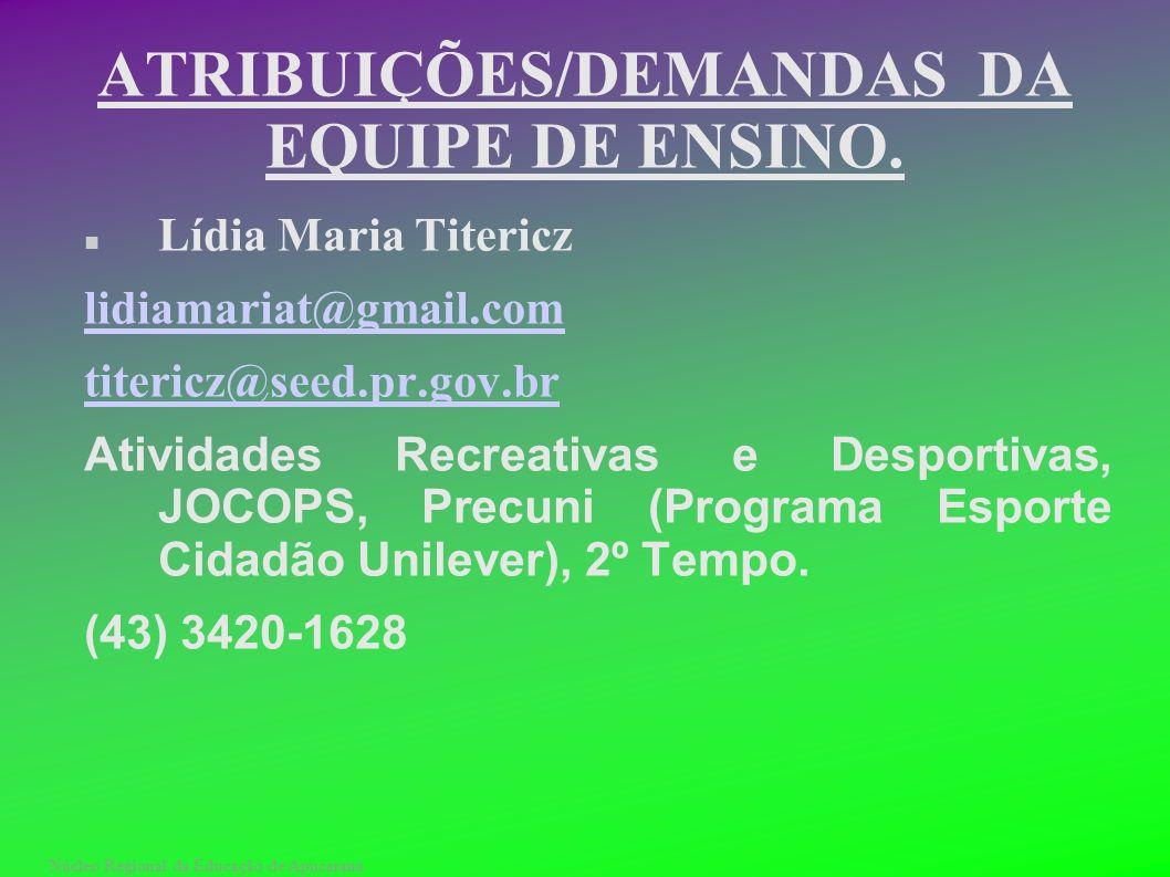 Núcleo Regional da Educação de Apucarana ATRIBUIÇÕES/DEMANDAS DA EQUIPE DE ENSINO. Lídia Maria Titericz lidiamariat@gmail.com titericz@seed.pr.gov.br
