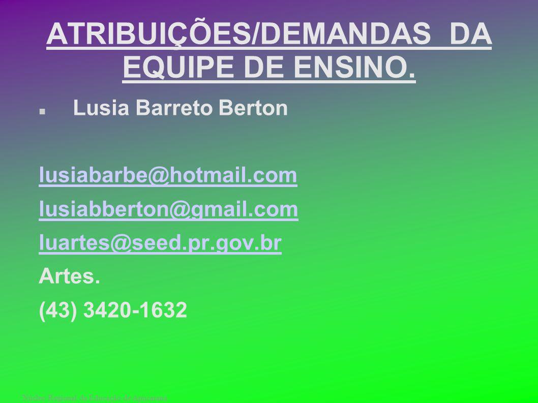 Núcleo Regional da Educação de Apucarana ATRIBUIÇÕES/DEMANDAS DA EQUIPE DE ENSINO. Lusia Barreto Berton lusiabarbe@hotmail.com lusiabberton@gmail.com