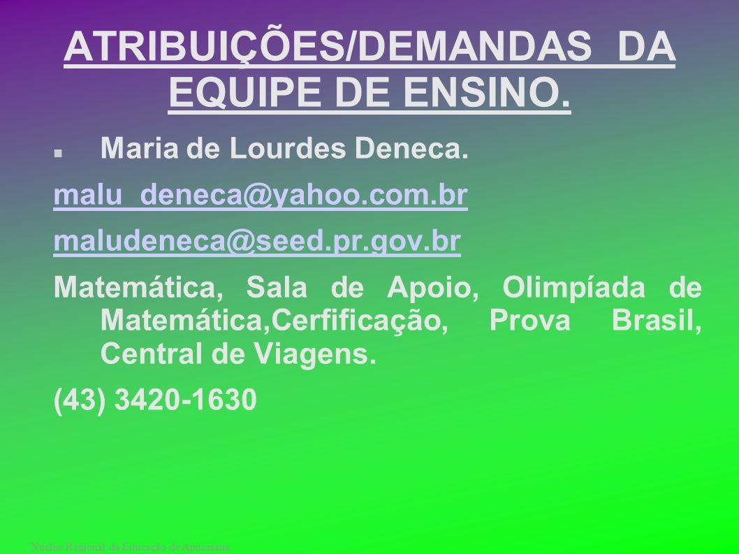 Núcleo Regional da Educação de Apucarana ATRIBUIÇÕES/DEMANDAS DA EQUIPE DE ENSINO. Maria de Lourdes Deneca. malu_deneca@yahoo.com.br maludeneca@seed.p