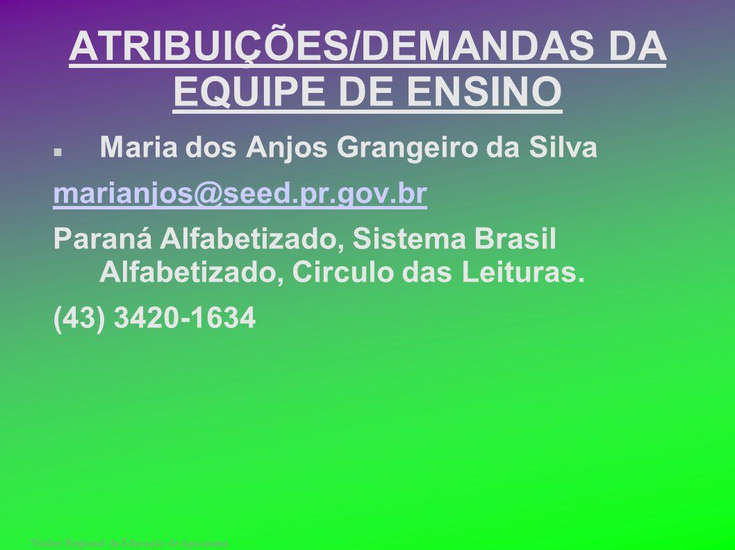 Núcleo Regional da Educação de Apucarana ATRIBUIÇÕES/DEMANDAS DA EQUIPE DE ENSINO Maria dos Anjos Grangeiro da Silva marianjos@seed.pr.gov.br Paraná A
