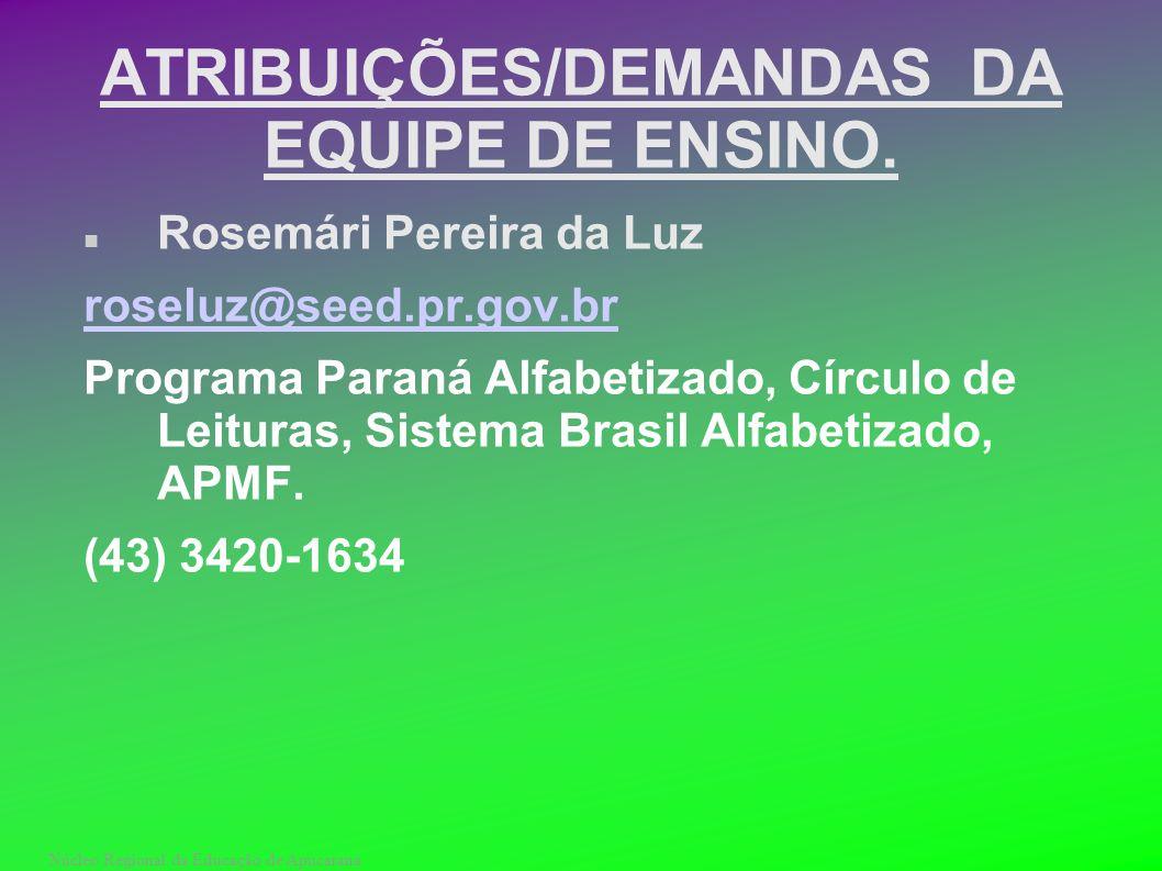 Núcleo Regional da Educação de Apucarana ATRIBUIÇÕES/DEMANDAS DA EQUIPE DE ENSINO. Rosemári Pereira da Luz roseluz@seed.pr.gov.br Programa Paraná Alfa