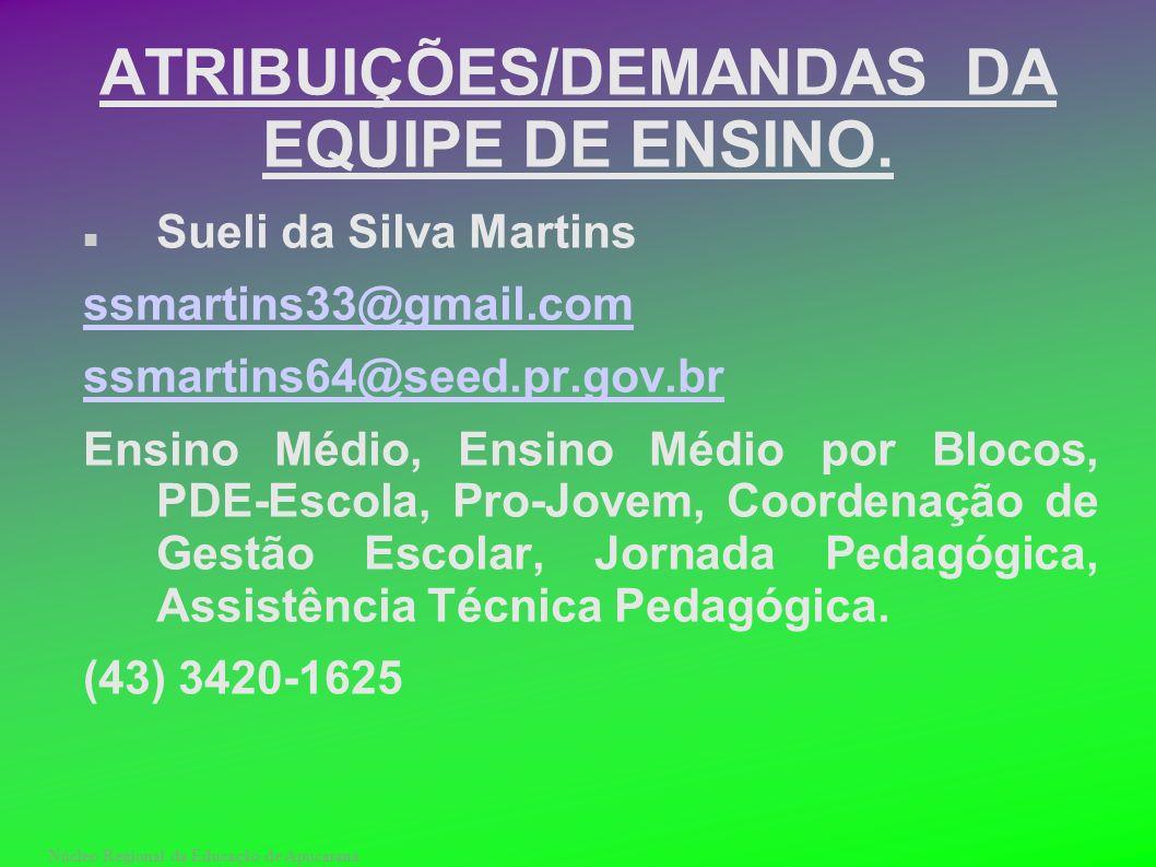 Núcleo Regional da Educação de Apucarana ATRIBUIÇÕES/DEMANDAS DA EQUIPE DE ENSINO. Sueli da Silva Martins ssmartins33@gmail.com ssmartins64@seed.pr.go