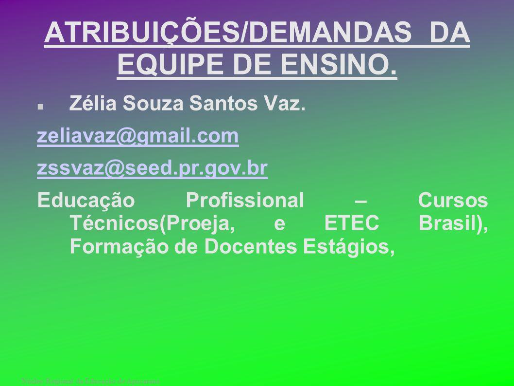 Núcleo Regional da Educação de Apucarana ATRIBUIÇÕES/DEMANDAS DA EQUIPE DE ENSINO. Zélia Souza Santos Vaz. zeliavaz@gmail.com zssvaz@seed.pr.gov.br Ed