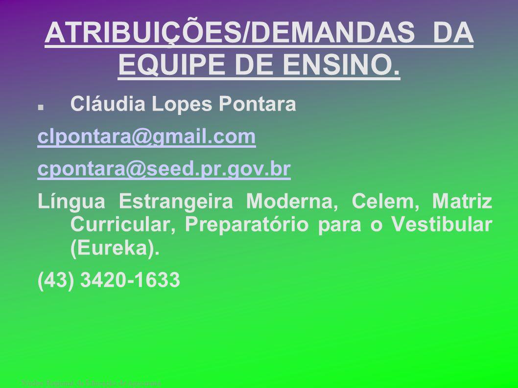 Núcleo Regional da Educação de Apucarana ATRIBUIÇÕES/DEMANDAS DA EQUIPE DE ENSINO. Cláudia Lopes Pontara clpontara@gmail.com cpontara@seed.pr.gov.br L