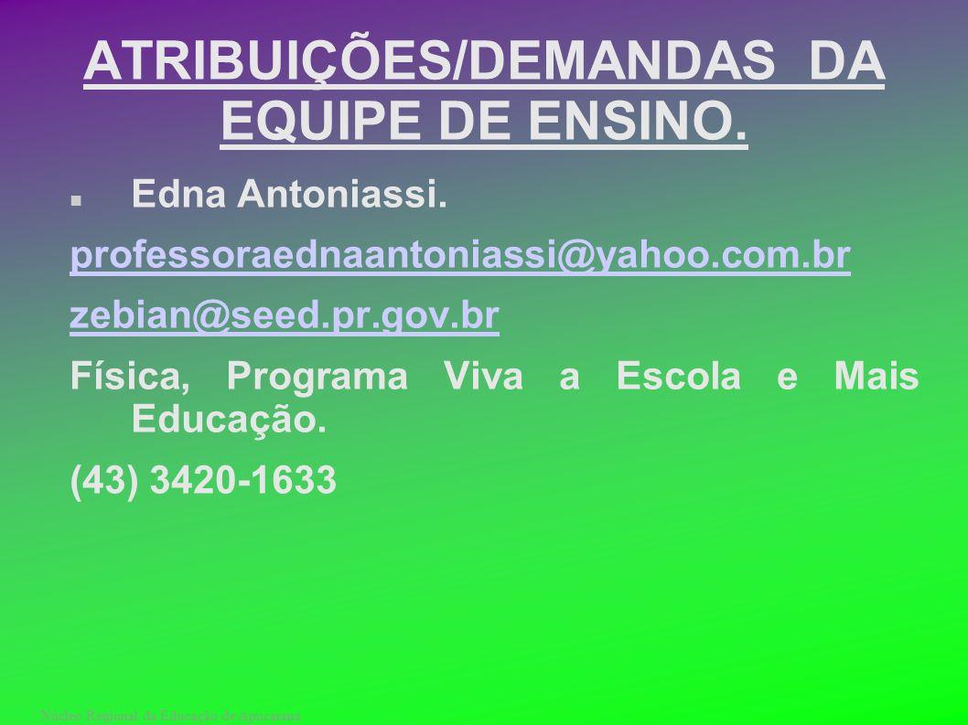 Núcleo Regional da Educação de Apucarana ATRIBUIÇÕES/DEMANDAS DA EQUIPE DE ENSINO. Edna Antoniassi. professoraednaantoniassi@yahoo.com.br zebian@seed.