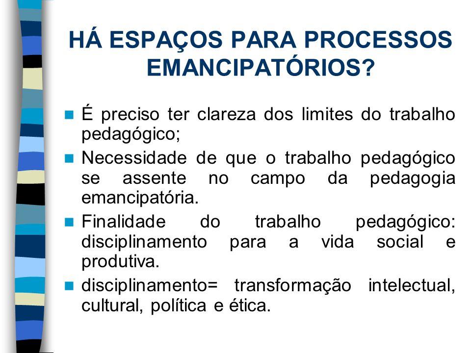 HÁ ESPAÇOS PARA PROCESSOS EMANCIPATÓRIOS? É preciso ter clareza dos limites do trabalho pedagógico; Necessidade de que o trabalho pedagógico se assent