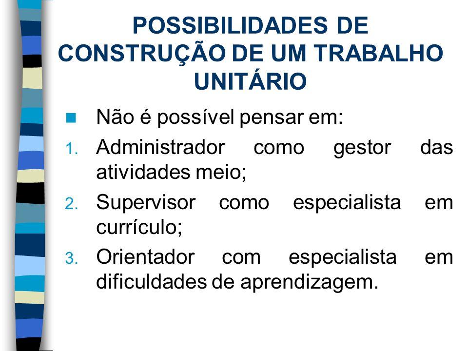POSSIBILIDADES DE CONSTRUÇÃO DE UM TRABALHO UNITÁRIO Não é possível pensar em: 1. Administrador como gestor das atividades meio; 2. Supervisor como es