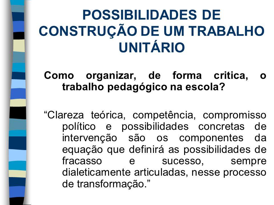 POSSIBILIDADES DE CONSTRUÇÃO DE UM TRABALHO UNITÁRIO Como organizar, de forma critica, o trabalho pedagógico na escola? Clareza teórica, competência,