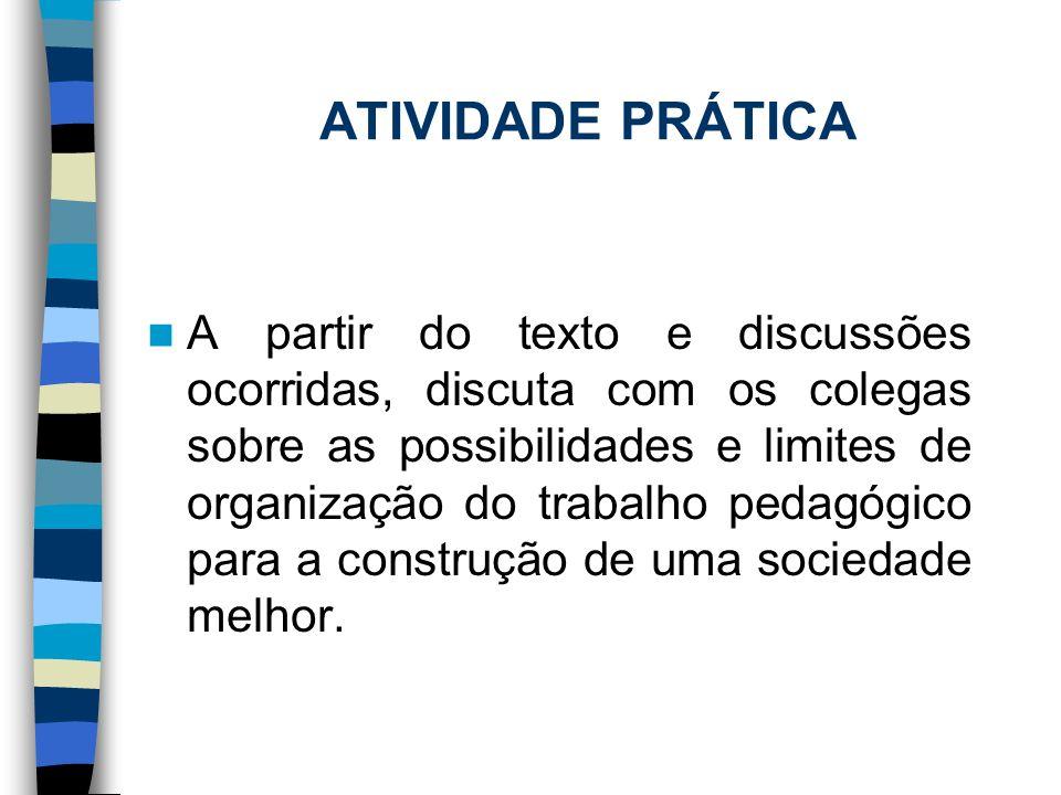 ATIVIDADE PRÁTICA A partir do texto e discussões ocorridas, discuta com os colegas sobre as possibilidades e limites de organização do trabalho pedagó