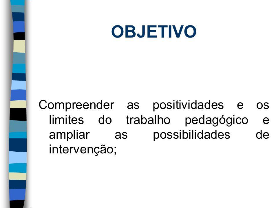 OBJETIVO Compreender as positividades e os limites do trabalho pedagógico e ampliar as possibilidades de intervenção;