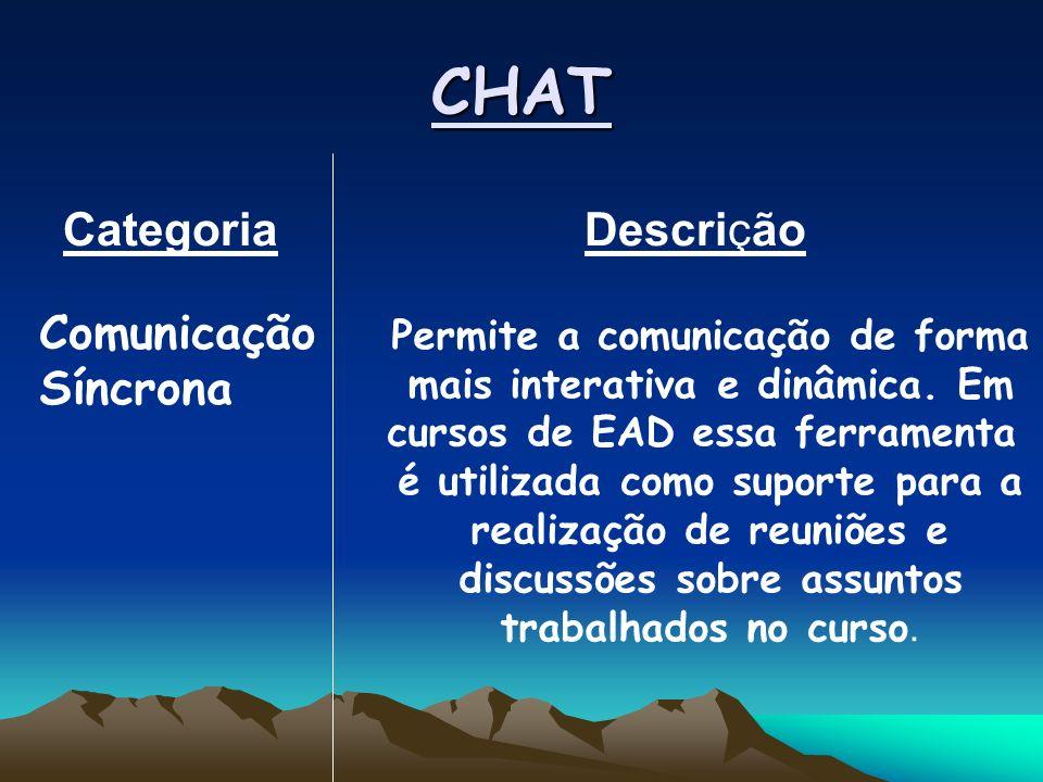CHAT Categoria Descrição Permite a comunicação de forma mais interativa e dinâmica.