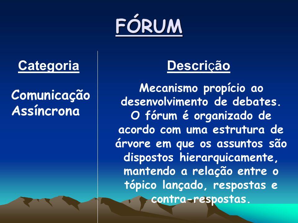 FÓRUM Categoria Descrição Mecanismo propício ao desenvolvimento de debates.