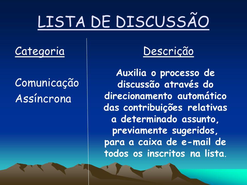 LISTA DE DISCUSSÃO Categoria Descrição Comunicação Assíncrona Auxilia o processo de discussão através do direcionamento automático das contribuições relativas a determinado assunto, previamente sugeridos, para a caixa de e-mail de todos os inscritos na lista.