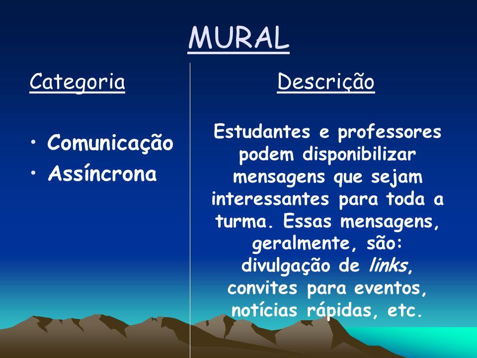 MURAL Categoria Descrição Comunicação Assíncrona Estudantes e professores podem disponibilizar mensagens que sejam interessantes para toda a turma.