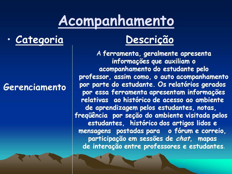 Acompanhamento Categoria Descrição Gerenciamento A ferramenta, geralmente apresenta informações que auxiliam o acompanhamento do estudante pelo professor, assim como, o auto acompanhamento por parte do estudante.