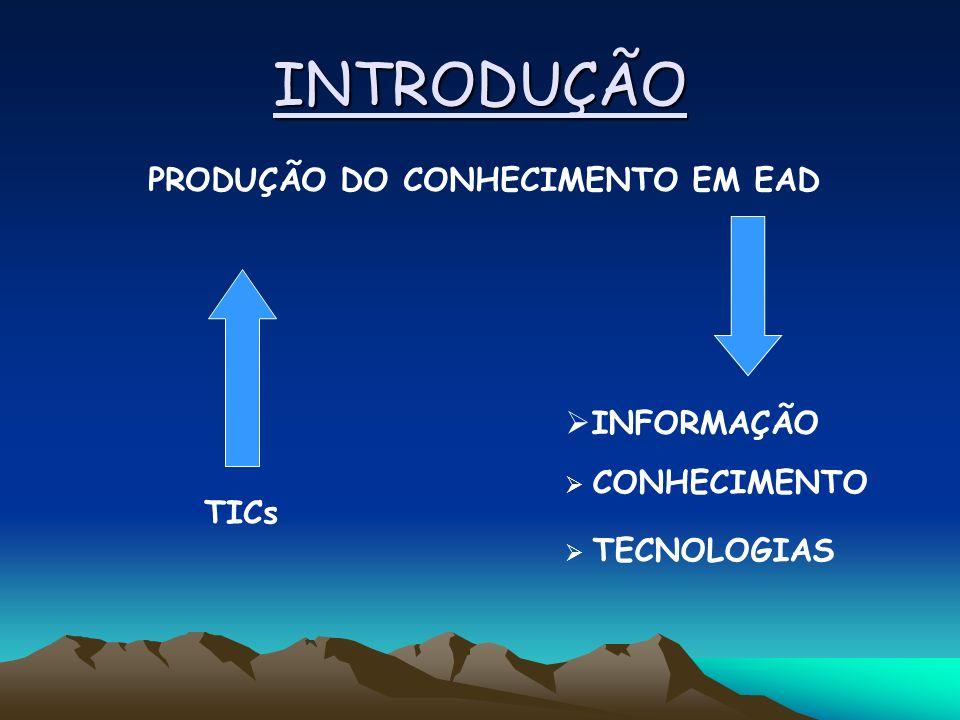 INTRODUÇÃO PRODUÇÃO DO CONHECIMENTO EM EAD TICs INFORMAÇÃO CONHECIMENTO TECNOLOGIAS