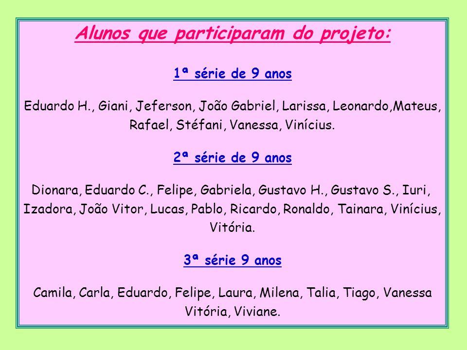 Alunos que participaram do projeto: 1ª série de 9 anos Eduardo H., Giani, Jeferson, João Gabriel, Larissa, Leonardo,Mateus, Rafael, Stéfani, Vanessa,