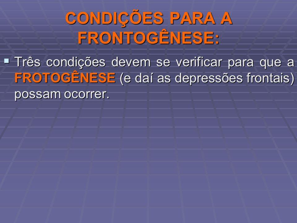 CONDIÇÕES PARA A FRONTOGÊNESE: Três condições devem se verificar para que a FROTOGÊNESE (e daí as depressões frontais) possam ocorrer. Três condições