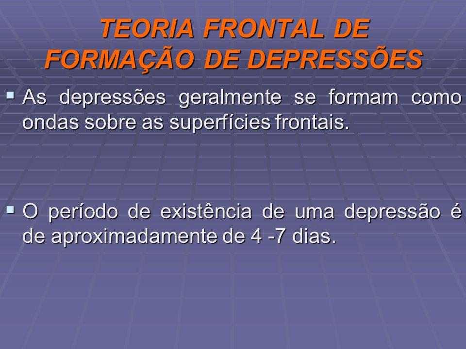 TEORIA FRONTAL DE FORMAÇÃO DE DEPRESSÕES As depressões geralmente se formam como ondas sobre as superfícies frontais. As depressões geralmente se form