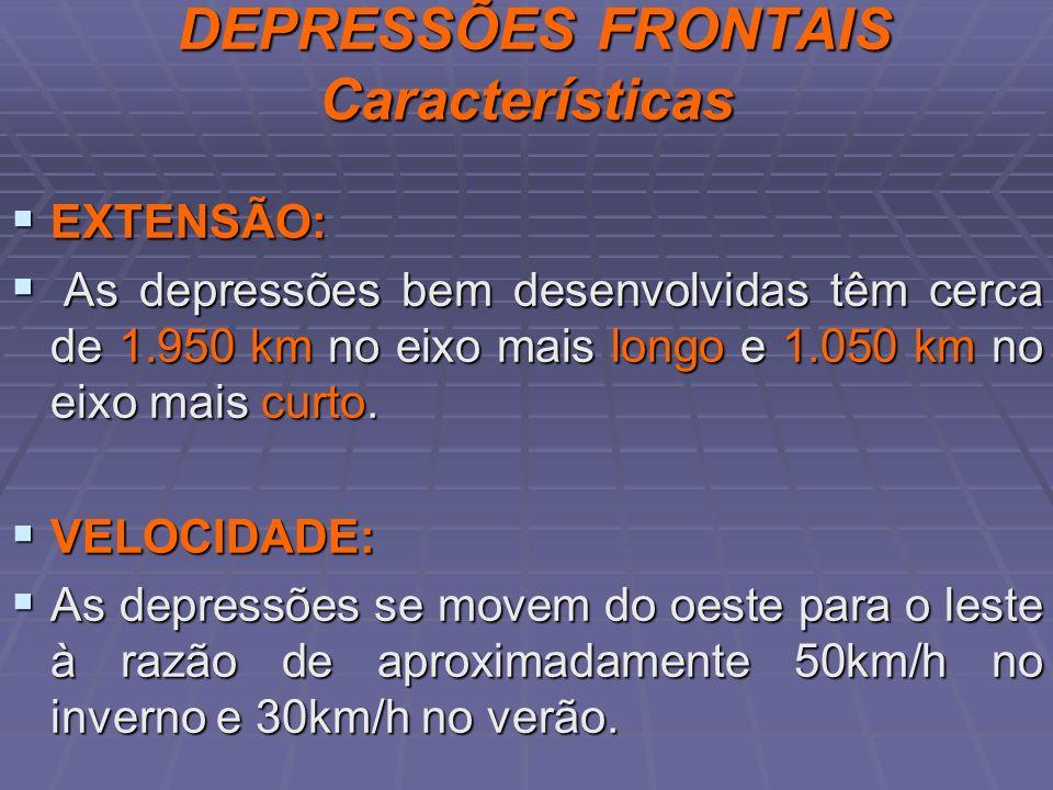 DEPRESSÕES FRONTAIS Características DEPRESSÕES FRONTAIS Características EXTENSÃO: EXTENSÃO: As depressões bem desenvolvidas têm cerca de 1.950 km no e