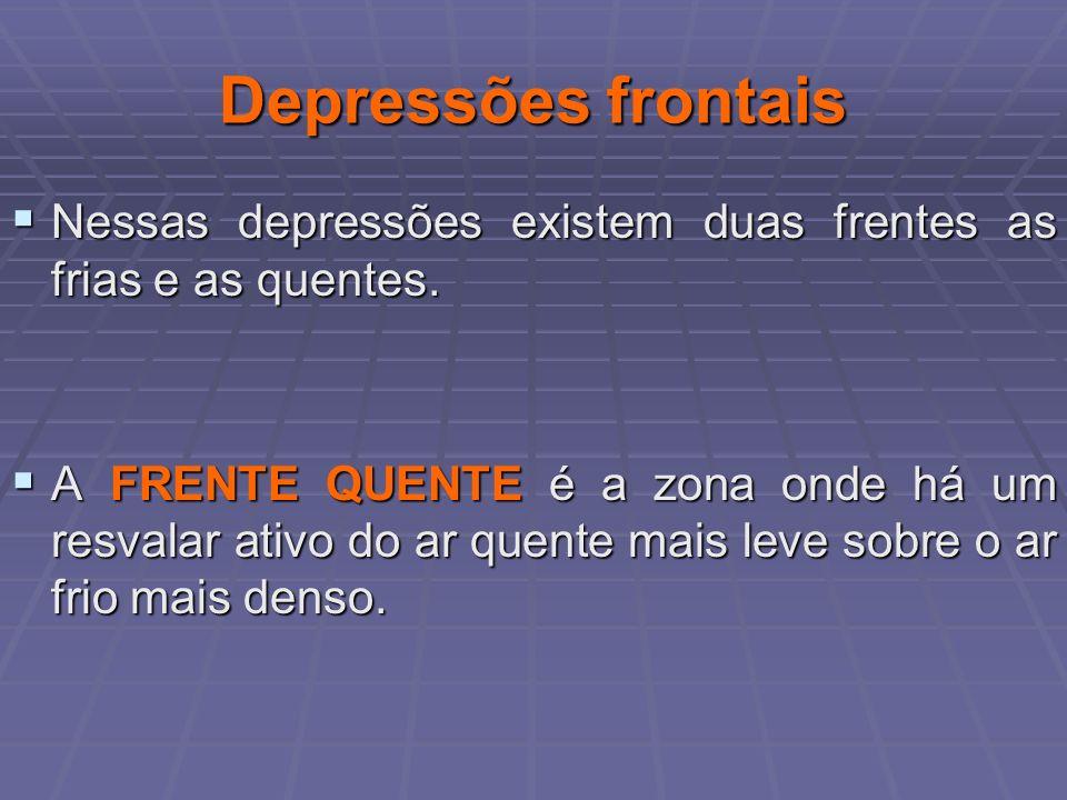 Depressões frontais Nessas depressões existem duas frentes as frias e as quentes. Nessas depressões existem duas frentes as frias e as quentes. A FREN