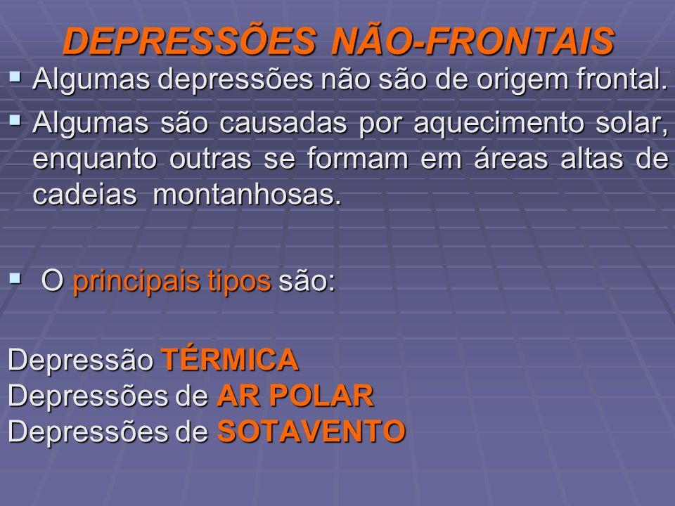 DEPRESSÕES NÃO-FRONTAIS Algumas depressões não são de origem frontal. Algumas depressões não são de origem frontal. Algumas são causadas por aquecimen