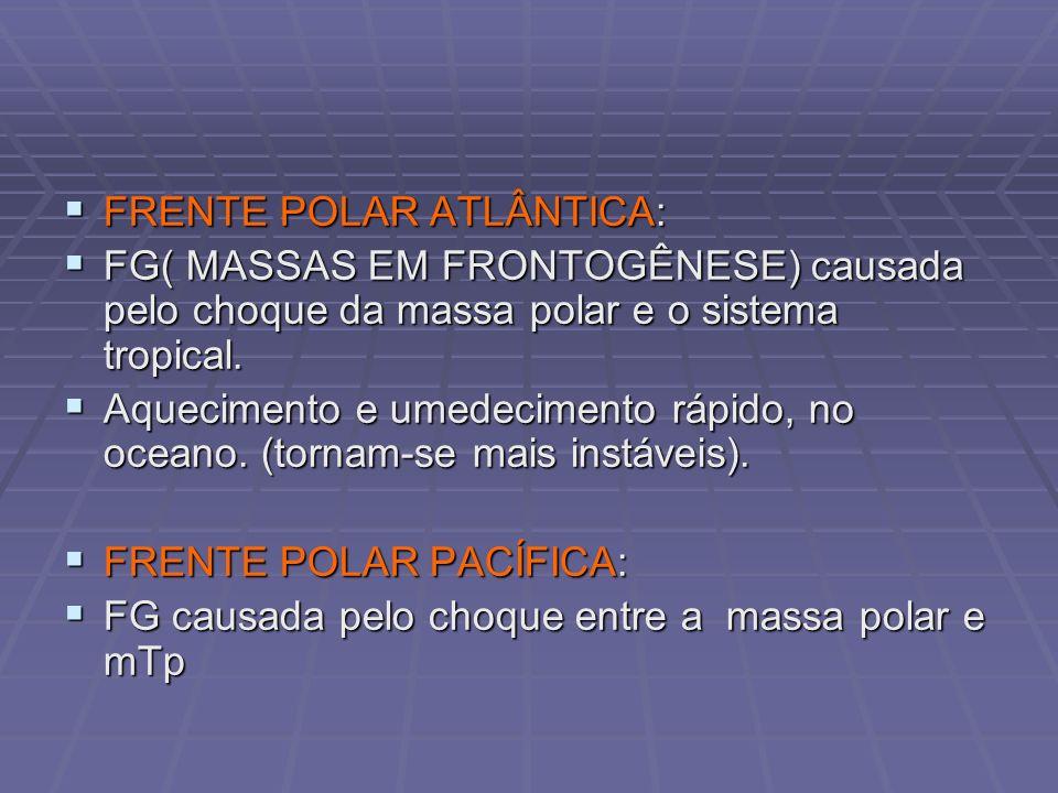 FRENTE POLAR ATLÂNTICA: FRENTE POLAR ATLÂNTICA: FG( MASSAS EM FRONTOGÊNESE) causada pelo choque da massa polar e o sistema tropical. FG( MASSAS EM FRO