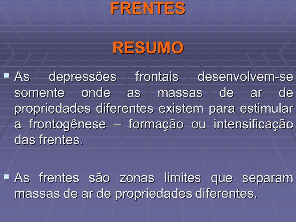 FRENTES RESUMO As depressões frontais desenvolvem-se somente onde as massas de ar de propriedades diferentes existem para estimular a frontogênese – f