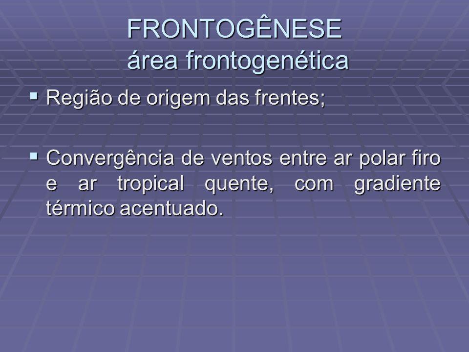 FRONTOGÊNESE área frontogenética Região de origem das frentes; Região de origem das frentes; Convergência de ventos entre ar polar firo e ar tropical