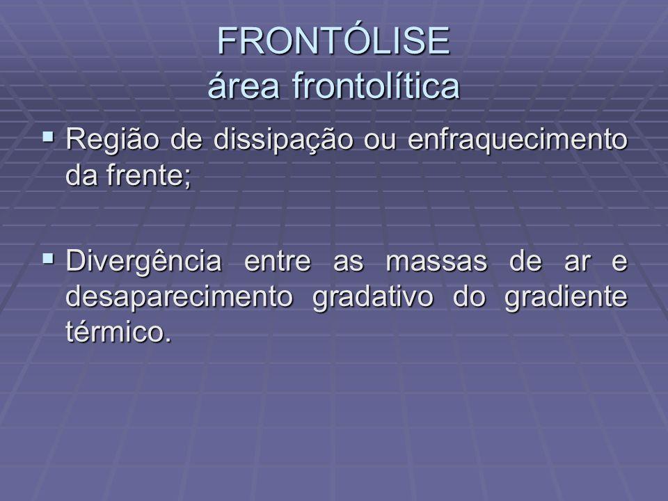 FRONTÓLISE área frontolítica Região de dissipação ou enfraquecimento da frente; Região de dissipação ou enfraquecimento da frente; Divergência entre a