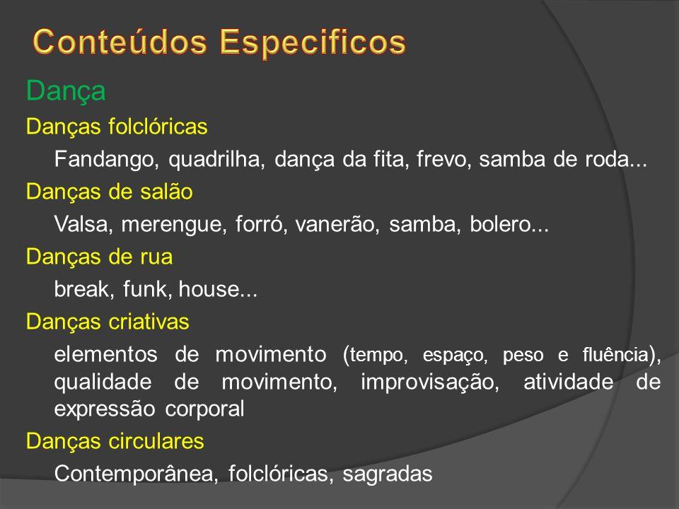 Dança Danças folclóricas Fandango, quadrilha, dança da fita, frevo, samba de roda... Danças de salão Valsa, merengue, forró, vanerão, samba, bolero...