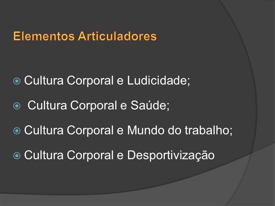 Cultura Corporal e Ludicidade; Cultura Corporal e Saúde; Cultura Corporal e Mundo do trabalho; Cultura Corporal e Desportivização