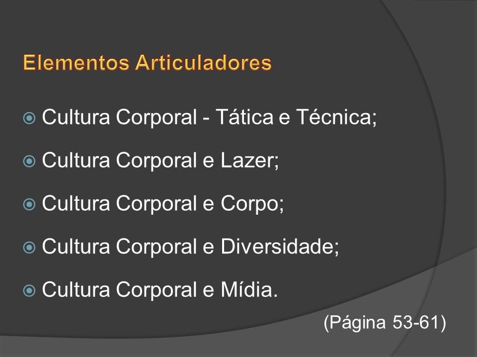 Cultura Corporal - Tática e Técnica; Cultura Corporal e Lazer; Cultura Corporal e Corpo; Cultura Corporal e Diversidade; Cultura Corporal e Mídia. (Pá
