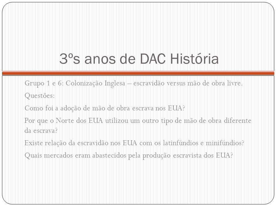 3ºs anos de DAC História Grupo 2 e 7: Guerra de Secessão – Industrialização versus atraso econômico.