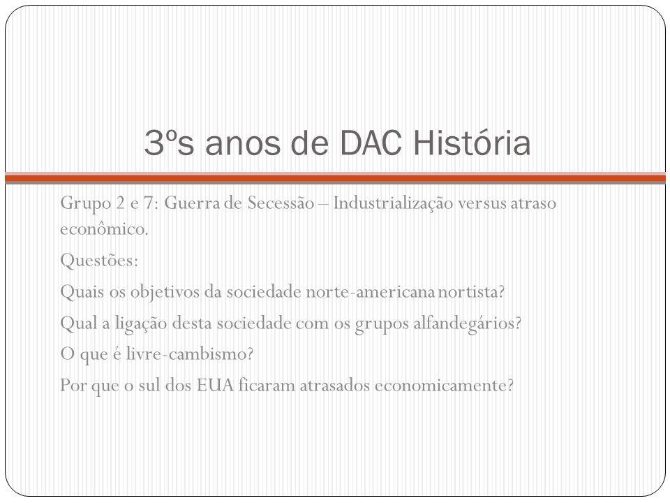 3ºs anos de DAC História Grupo 3: Resultados da guerra de Secessão e o segregacionismo Questões: Quem venceu o conflito belicoso da Guerra de Secessão.