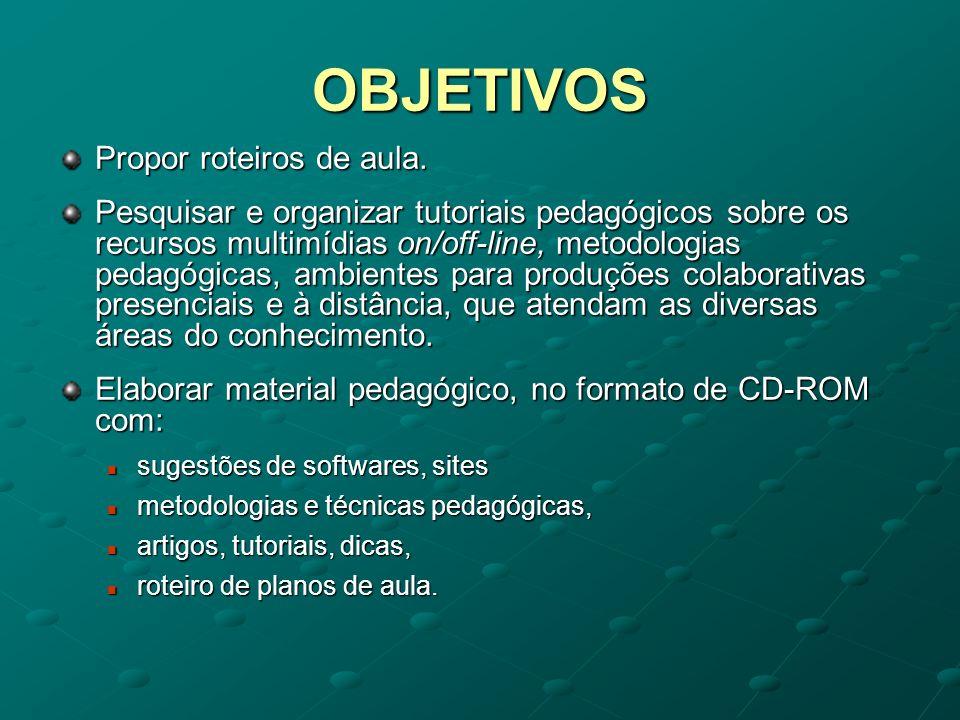 OBJETIVOS Propor roteiros de aula. Pesquisar e organizar tutoriais pedagógicos sobre os recursos multimídias on/off-line, metodologias pedagógicas, am