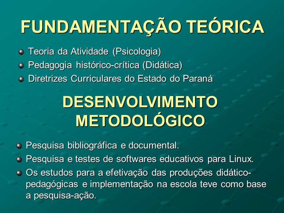 FUNDAMENTAÇÃO TEÓRICA Teoria da Atividade (Psicologia) Pedagogia histórico-crítica (Didática) Diretrizes Curriculares do Estado do Paraná DESENVOLVIME