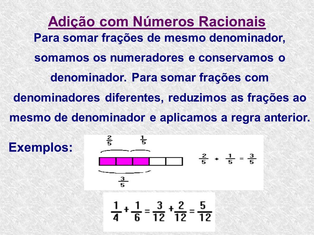 Adição com Números Racionais Para somar frações de mesmo denominador, somamos os numeradores e conservamos o denominador. Para somar frações com denom