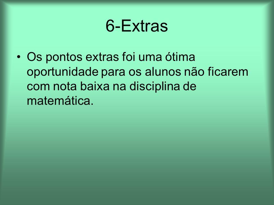 6-Extras Os pontos extras foi uma ótima oportunidade para os alunos não ficarem com nota baixa na disciplina de matemática.