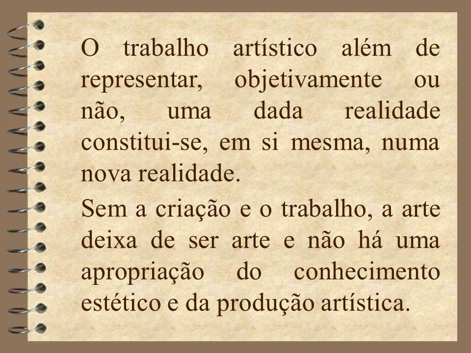 O trabalho artístico além de representar, objetivamente ou não, uma dada realidade constitui-se, em si mesma, numa nova realidade.
