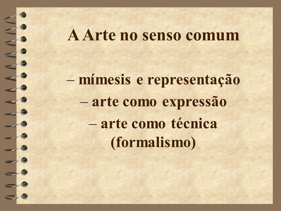 A Arte no senso comum – mímesis e representação – arte como expressão – arte como técnica (formalismo)