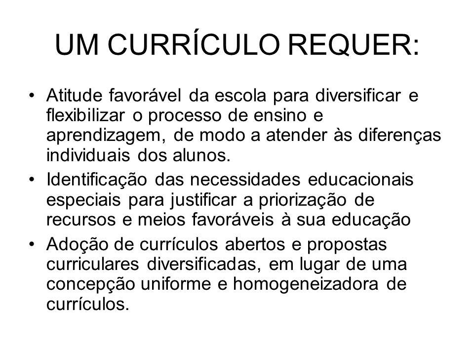 UM CURRÍCULO REQUER: Atitude favorável da escola para diversificar e flexibilizar o processo de ensino e aprendizagem, de modo a atender às diferenças individuais dos alunos.