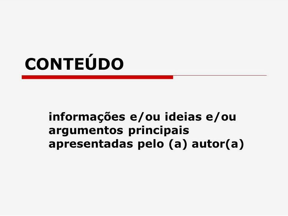 CONTEÚDO informações e/ou ideias e/ou argumentos principais apresentadas pelo (a) autor(a)