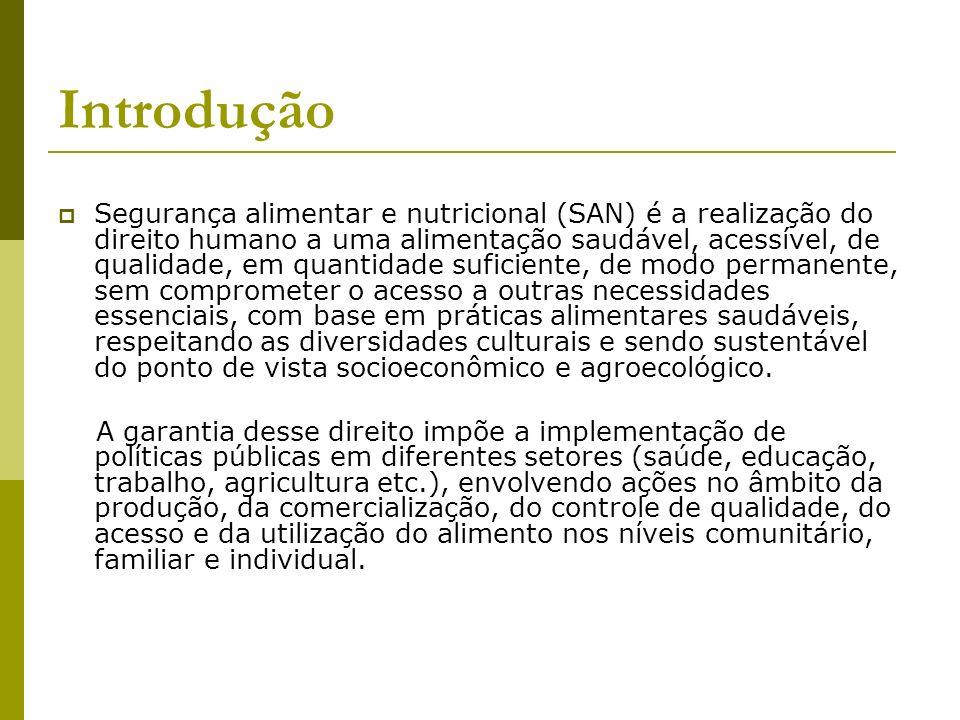 Introdução Segurança alimentar e nutricional (SAN) é a realização do direito humano a uma alimentação saudável, acessível, de qualidade, em quantidade