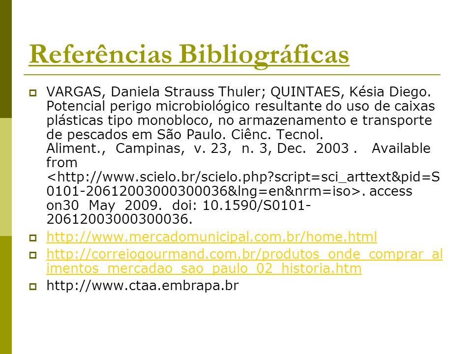 Referências Bibliográficas VARGAS, Daniela Strauss Thuler; QUINTAES, Késia Diego. Potencial perigo microbiológico resultante do uso de caixas plástica