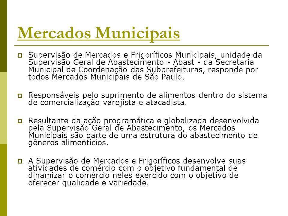 Mercados Municipais Supervisão de Mercados e Frigoríficos Municipais, unidade da Supervisão Geral de Abastecimento - Abast - da Secretaria Municipal d