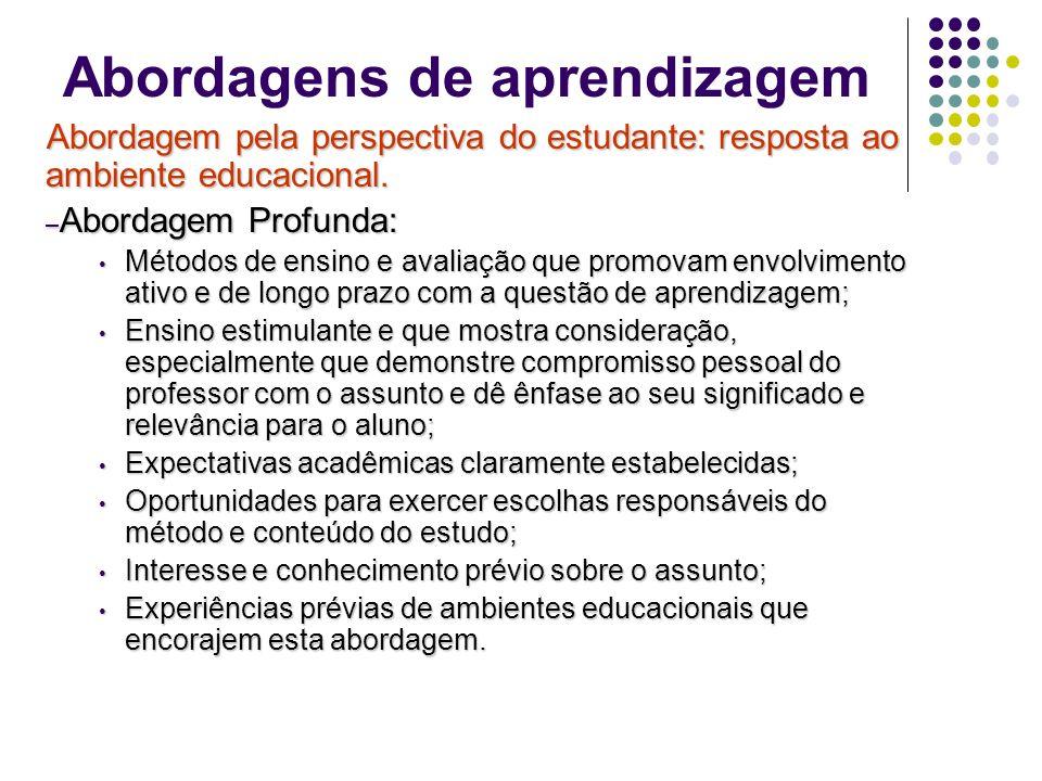 Abordagens de aprendizagem Abordagem pela perspectiva do estudante: resposta ao ambiente educacional.